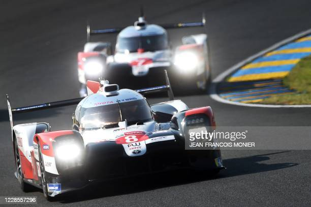 Toyota TS050 Hybrid LMP1 WEC Swiss driver Sebastien Buemi drives during the first practice session on September 17 in Le Mans, northwestern France,...