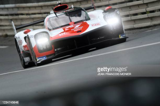 Toyota TS050 Hybrid LMP1 WEC'S British driver Mike Conway takes part in the first practice session in Le Mans, northwestern France, on August 18,...
