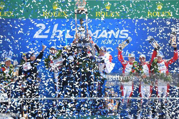 Toyota TS050 Hybrid LMP1's drivers Spain's Fernando Alonso Japan's Kazuki Nakajima and Switzerland's Sebastien Buemi and Toyota TS050 Hybrid LMP1...