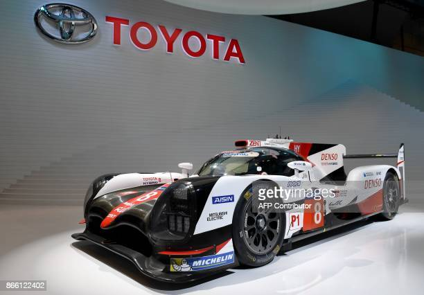Toyota TS050 HYBRID race car is on display at the Toyota booth during the Tokyo Motor Show in Tokyo on October 25 2017 The motor show which started...