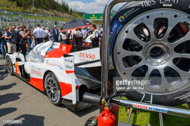 Toyota TS050 Hybrid racing car on the start grid with people looking at the cars that are being prepared for the 6 Hours of SpaFrancorchamps race the...