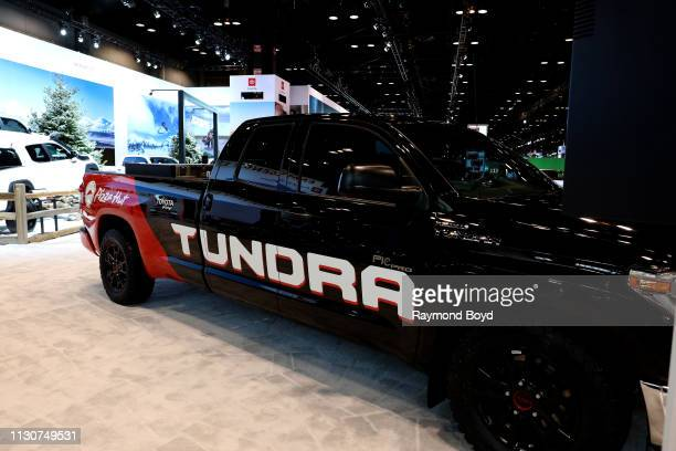 Toyota Tundra Pie Pro MCTI/Pizza Hut vehicle is on display at the 111th Annual Chicago Auto Show at McCormick Place in Chicago, Illinois on February...