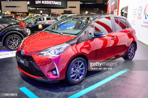 Toyota Yaris Hybrid compact city car on display at Brussels Expo on January 9, 2020 in Brussels, Belgium.