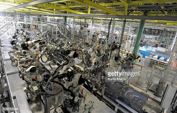 Toyota Yaris's on the assembly line at Toyota's new Miyagi car factory which opened to the press on February 16 2011 in OhiraMiyagiJapan