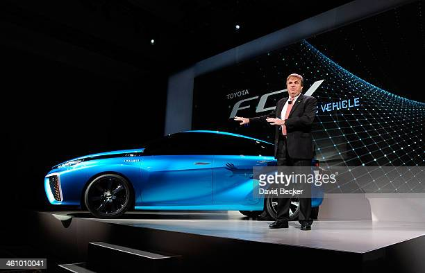 Toyota's Automotive Operations Senior Vice President Bob Carter speaks during a press event about the Toyota fuel cell concept vehicle at the...