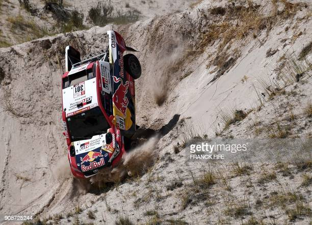 TOPSHOT Toyota's driver Nasser AlAttiyah of Qatar and his codriver Matthieu Baumel of France compete during the Stage 10 of the Dakar 2018 between...