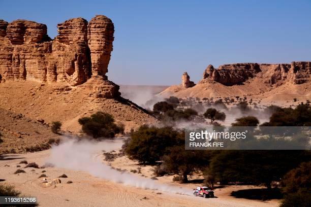 Toyota's driver Ronan Chabot mechanics during the Stage 9 of the Dakar 2020 between Wadi Al Dawasir and Haradh, Saudi Arabia, on January 14, 2020.