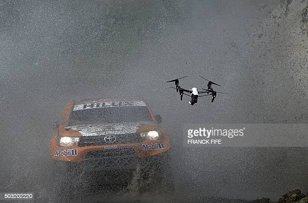 TOPSHOT Toyota's driver Ronan Chabot of France and codriver Gilles Pillot compete during the 11km Prologue of the 2016 Dakar Rally in the province of...