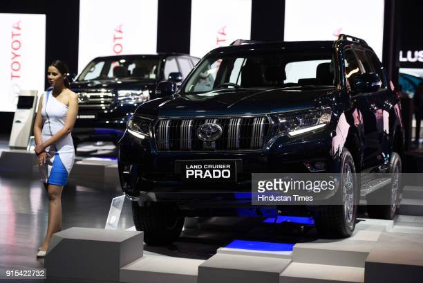 Toyota's Land Cruiser Prado during its unveiling at Auto Expo 2018 motor show at India Expomart on February 7 2018 in Greater Noida India The Expo...