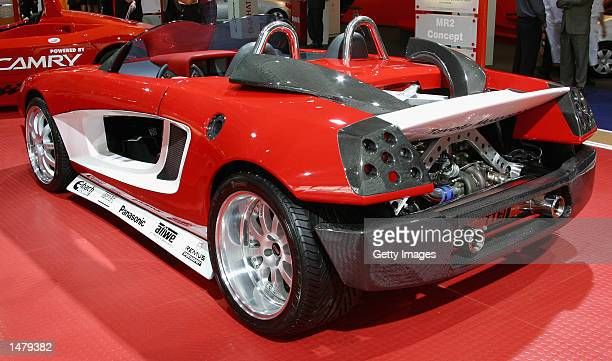 Toyota's MR2 F1 street concept car is on display at the Sydney International Motor Show on October 17 2002 in Sydney Australia Built mainly of fibre...