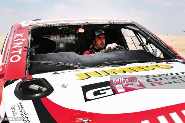 TOPSHOT Toyota's Spanish driver Fernando Alonso drives his car after the neutralisation of the race due to strong winds during the Stage 10 of the...