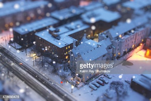 Toy-ronto's Snowy Morning at Blue Hour