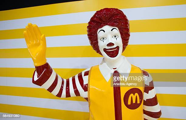 Toys are being displayed during the McDonald's toys exhibition at Canton Tower in Guangzhou China on July 31 2016 on the 25th anniversary of the...