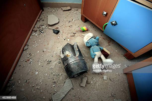 Toys are dispersed after attack of Israel to a building containing Anadolu Agency's Gaza bureau in Gaza City Gaza on 29 July 2014 Tenth floor of...