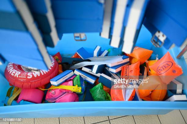 Toys are pictured at La conterie public swimming pool in ChartresdeBretagne suburbs of Rennes western France on May 28 2020 Swimming pools in France...