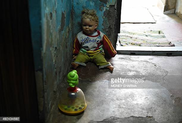 Toys are seen in the house in New Delhi on October 13 2015 where a fouryearold rape victim lives Indian police said they have arrested the main...