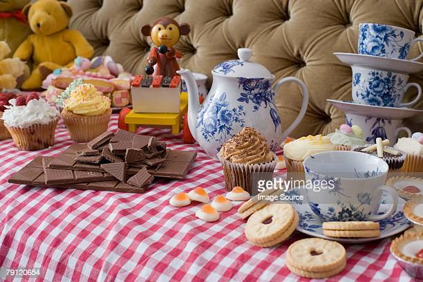 Toys at tea party