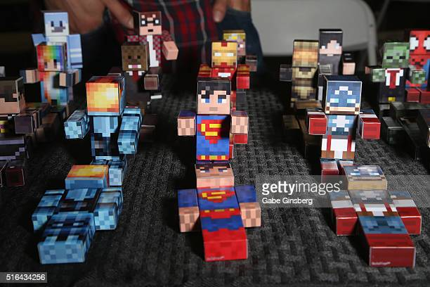 Toys based on Minecraft are displayed during Wizard World Las Vegas at the Las Vegas Convention Center on March 18 2016 in Las Vegas Nevada