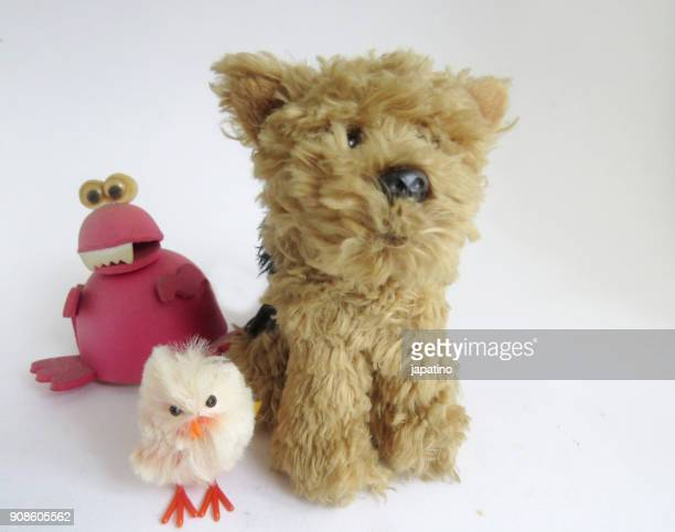 Toys. Dog and chicken friends