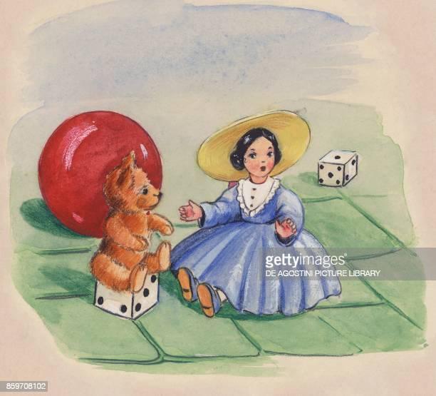 doll teddy bear dice ball children's illustration drawing