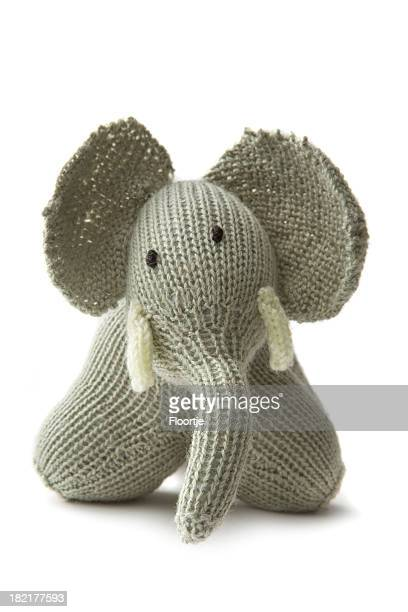toys: elephant isolated on white background - stuffed toy stock pictures, royalty-free photos & images