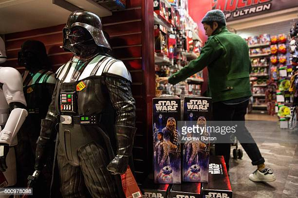 """Toys from """"Star Wars: The Force Awakens"""" are sold in the Toys R Us in Times Square on December 11, 2015 in New York City. Disney acquired Lucasfilm..."""