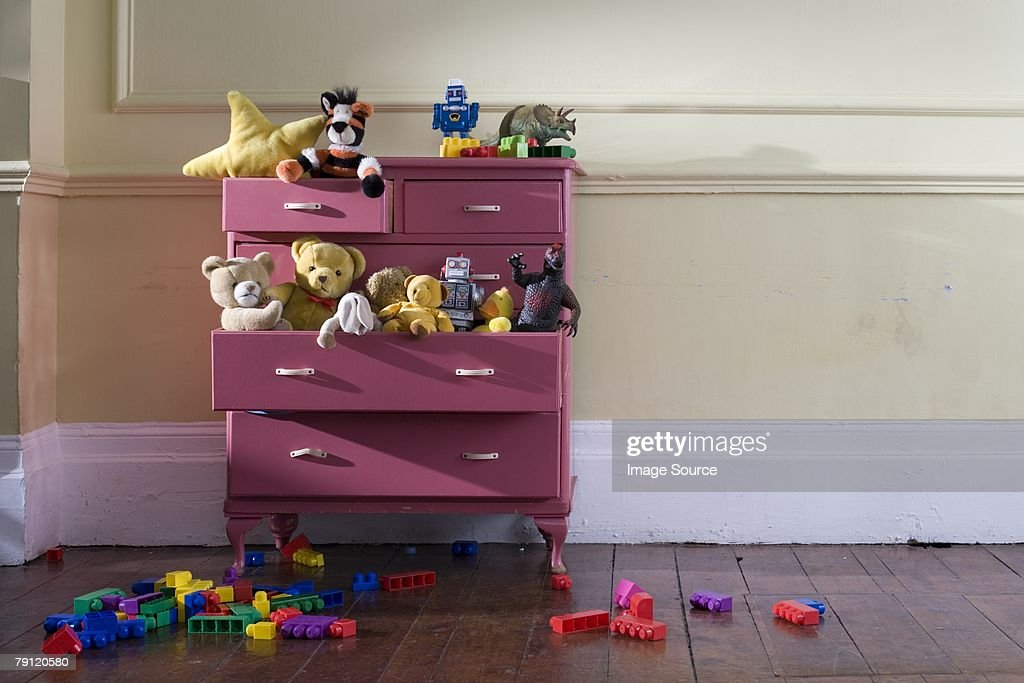 Toys in a dresser : Stock Photo