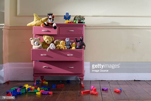 toys in a dresser - messy stock pictures, royalty-free photos & images