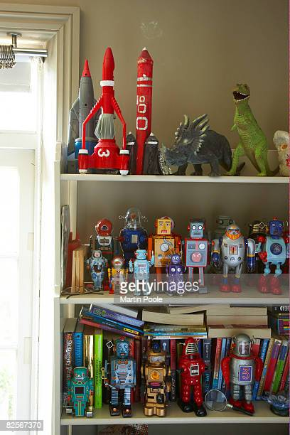 toys on shelf in childs bedroom - collection stock pictures, royalty-free photos & images