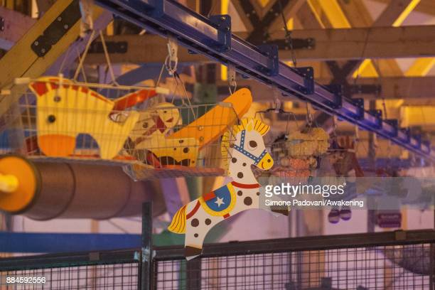 Toys ready to be sent are seen in the house of Santa Claus in the Reggia of Venaria on December 2 2017 in Turin Italy