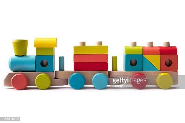 toys: wooden train isolated on white background - toy stock pictures, royalty-free photos & images