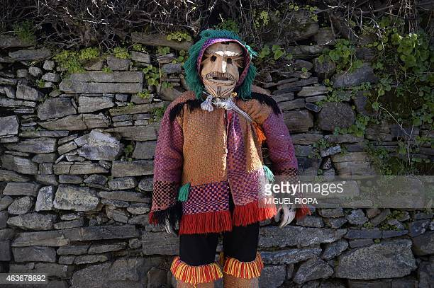 Toze a reveller from the Portuguese village of Vila Boa de Ousilhao in northeastern Portugal poses in garb and wooden mask during the traditional...