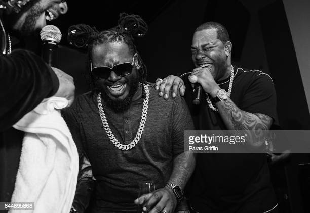 TPain and Busta Rhymes onstage at 'TOGETHER' A Black History Month Celebration Of Unity Community at Tree Sound Studios on February 23 2017 in...