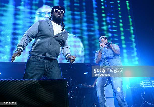 Pain and Flo Rida perform onstage during Power 961's Jingle Ball 2012 at the Philips Arena on December 12 2012 in Atlanta
