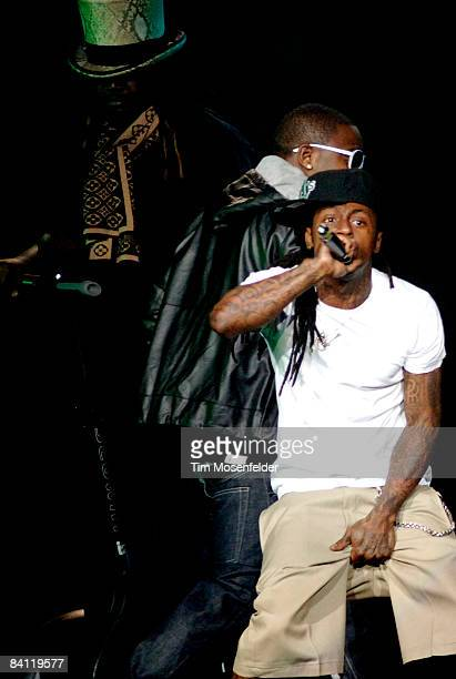 Pain and Lil' Wayne perform in support of his Tha Carter III release at the ORACLE Arena on December 23 2008 in Oakland California