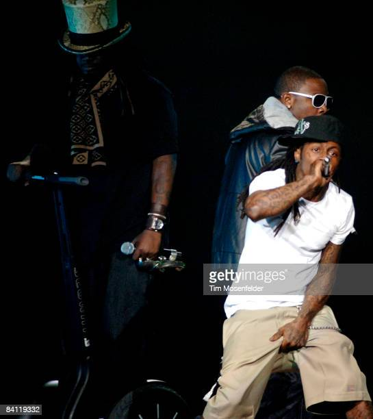 Pain and Lil' Wayne performs in support of his Tha Carter III release at the ORACLE Arena on December 23 2008 in Oakland California