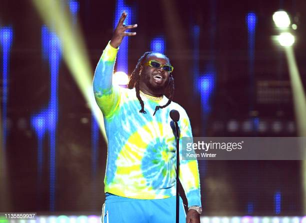 Pain speaks on stage at the 2019 iHeartRadio Music Awards which broadcast live on FOX at the Microsoft Theater on March 14, 2019 in Los Angeles,...