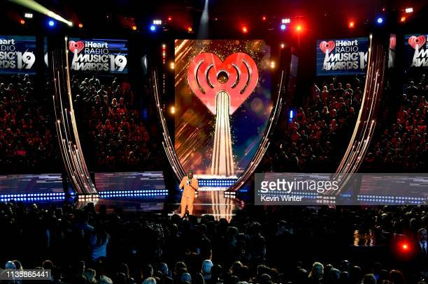 TPain speaks on stage at the 2019 iHeartRadio Music Awards which broadcasted live on FOX at the Microsoft Theater on March 14 2019 in Los Angeles...