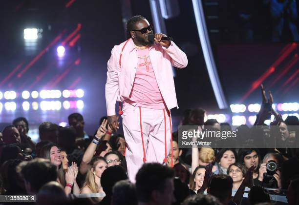 Pain speaks on stage at the 2019 iHeartRadio Music Awards which broadcasted live on FOX at the Microsoft Theater on March 14, 2019 in Los Angeles,...