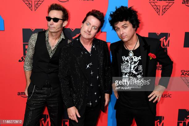 Tré Cool Mike Dirnt and Billie Joe Armstrong of Green Day attends the MTV EMAs 2019 at FIBES Conference and Exhibition Centre on November 03 2019 in...