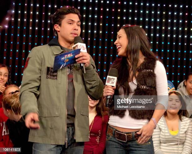 MTV Tr3s VJ Carlos Sanchez and Jennifer Pena during Jennifer Pena Visits MTV Tr3s' MiTRL February 23 2007 at MTV Studios Times Sqaure in New York...