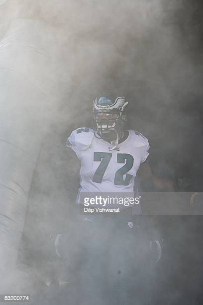 Tra Thomas of the Philadelphia Eagles takes the field prior to playing against the Washington Redskins at Lincoln Financial Field on October 5 2008...