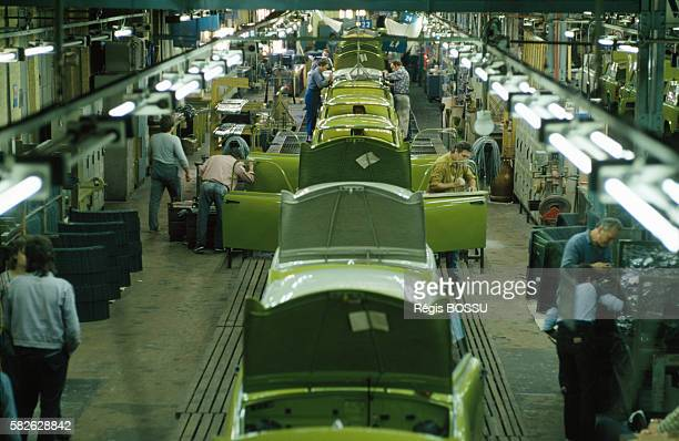 Trabant car factory in Zwickau, East Germany.
