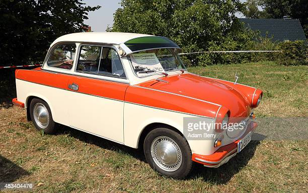 Trabant P60 automobile is seen at a Trabant enthusiasts' weekend on August 8 2015 near Nossen Germany The Trabant also called the Trabi is the iconic...