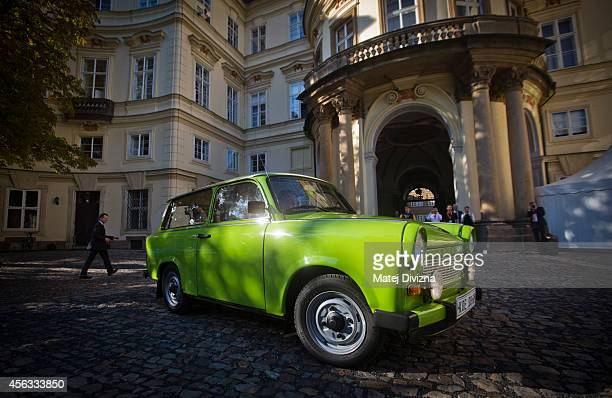 Trabantbrand car arrives at a commemoration event to the 25th anniversary of refugee exodus from communist East Germany at the German embassy on...