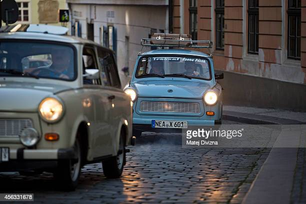 Trabantbrand cars arrive at a commemoration event to the 25th anniversary of refugee exodus from communist East Germany at the German embassy on...