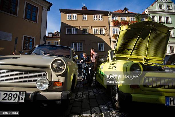 Trabantbrand cars park as they arrive at a commemoration event to the 25th anniversary of refugee exodus from communist East Germany in front of the...