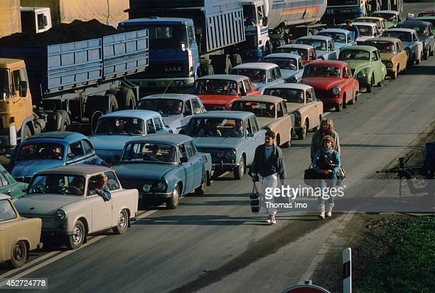 Trabants and other cars on their way to the former inner German border on November 09 in Berlin Germany The year 2014 marks the 25th anniversary of...