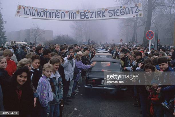 Trabants crossing the former inner German border after opening of the border on November 09 in Berlin Germany The year 2014 marks the 25th...