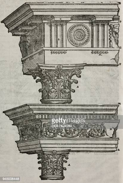 Trabeation with triglyphs and modillions on a Corinthian column trabeation with dentil cornices on a Corinthian column engraving from I dieci libri...